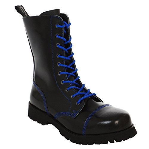 Boots black Blauer 10 amp; Stiefel Loch Schwarz Rangers Braces blue Mit Naht qZqrMS
