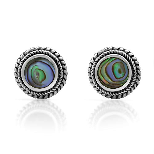 (925 Sterling Silver Post Stud Earrings - Chuvora Jewelry - Bali Inspired Braided Green Abalone Shell)