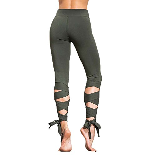 (Women's Wrapped Yoga Pants Fitness Pant Dance Ballet Tie Tight Cropped Trousers Capri Pants Calf Criss Cross (S, Green))