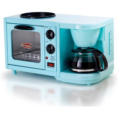 Americana by Elite EBK-200BL 3-in-1 Mini Breakfast Shoppe, Coffee, Toaster Oven, Griddle, Mint Blue (Blue Star Oven Parts compare prices)