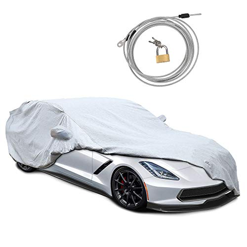KAKIT Custom Fit Corvette Stingray C7 2014-2018 Car Cover, 6 Layers All Weather Waterproof Indoor Outdoor Snow Proof Car Cover for Corvette C7, Free Windproof Ribbon & Anti-Theft Lock