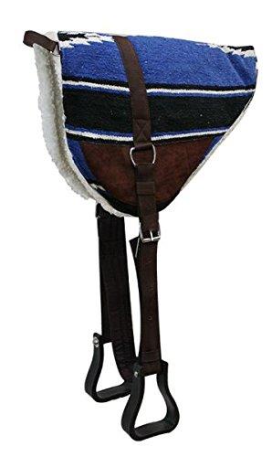Navajo Barebackサドルパッドwith KodelフリースBottom andスエードWear Leathers with Stirrupsロイヤルブルー   B00OBK8ASO