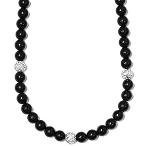 Shamballa Necklace Black and Crystal Ball Beads - 28 Inches