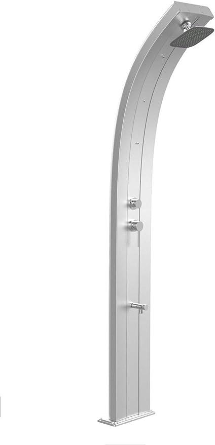 Ducha solar Arkema Dada de aluminio anodizado inoxidable Ducha de jardín con grifo agua caliente fría Nebulizadores y Lavapiés Depósito de 40 litros Altura 225 cm: Amazon.es: Bricolaje y herramientas