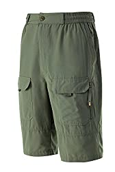 A.WAVE Outdoor Sports Cargo Short Elastic Waist Flat Front Quick Dry (ARMYGREEN, M)