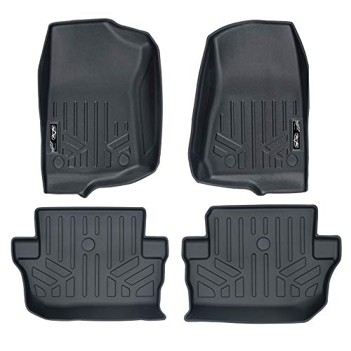(SMARTLINER Custom Fit Floor Mats 2 Row Liner Set Black for 2018-2019 Jeep Wrangler 2-Door (JL New Body Style - not JK))