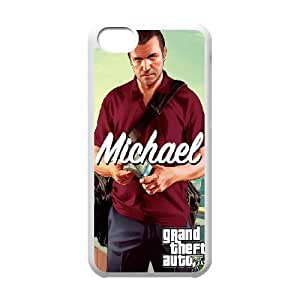 GTA 5 Michael with Money Bag iPhone 5c Cell Phone Case White phone component AU_568544