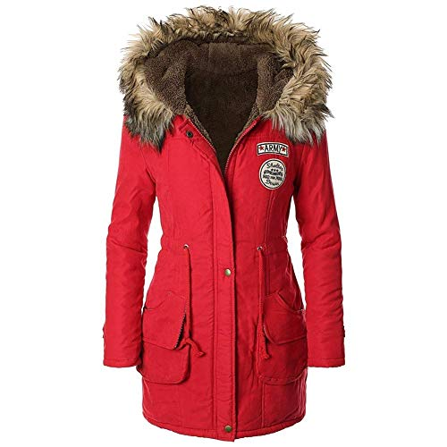 Womens Warm Fur Parka Trim BBWAY with Hooded Winter Red Military Coat dqXEBRzwE