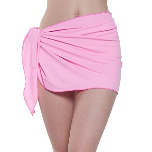 (ChinFun Women's Soft Nylon Spandex Sarong Wrap Beach Swimwear Short Style Cover Up Pareo Swimsuit Wrap Solid Colors Pink)