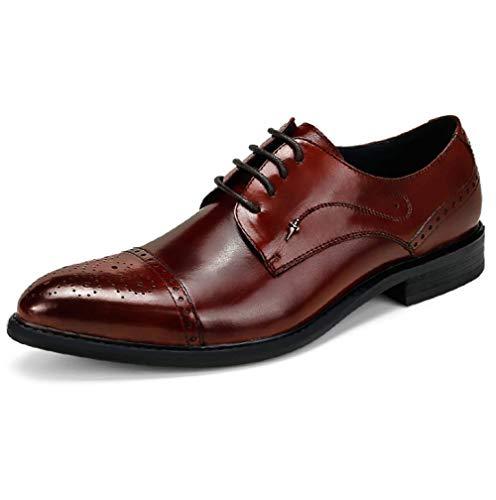 Scarpe da Uomo Broch Intagliato Business Oxford Scarpe Lace Comfort Wedding Shoes,Winered-37