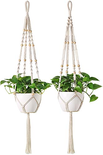 Mkono 2 Pcs Macrame Plant Hangers Long Hanging Planter 46 Inch (Fit Large Pot Up to 9 Inch) Indoor Outdoor Ceiling Plant Holder Basket Boho Home Decor