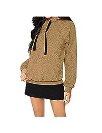 DRAGONHOO Women Plush Long-Sleeved Hoodie Sweater Blouse Sweatershirt Tops Hoodie Pullover