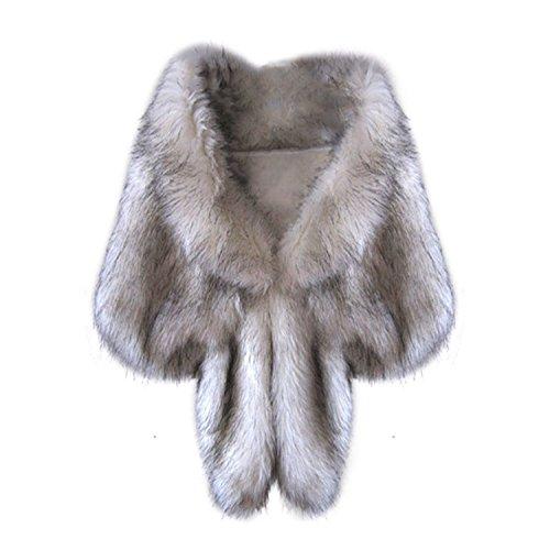 Special Beauty Nice Fashion Elegant Bridal Wedding Long Faux Fox Fur Long Shawl Stole Wrap Shrug Scarf