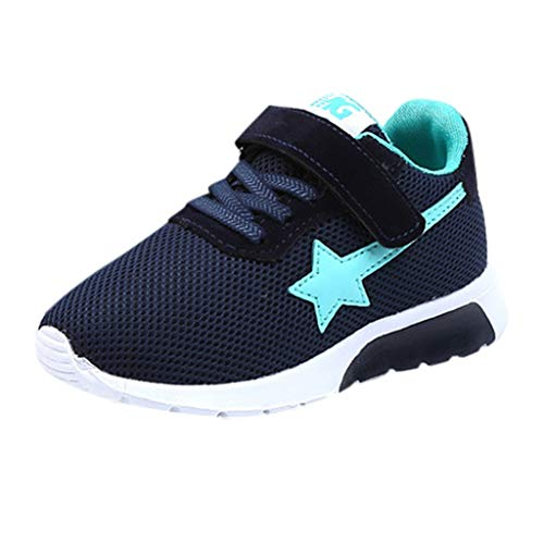 Children Kids Sneaker Baby Boys Girls Star Mesh Breathable Athletic Running Tennis Shoes Sport Casual Shoes Dark Blue