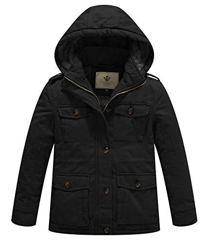 WenVen Boy's and Girl's Warm Fleece Lined Parka Coat with Hood Black,4-5Y