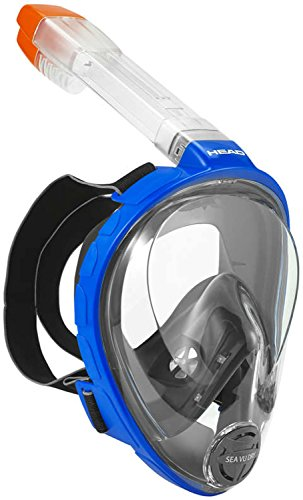 HEAD Sea Vu Dry Full Face Snorkeling Mask, Large/X Large, Blue