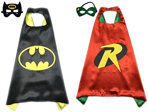 Pack of 2 Superhero Princess CAPE & MASK SET Kids Children's Halloween Costume (Batman & (Batman Robin Costume)