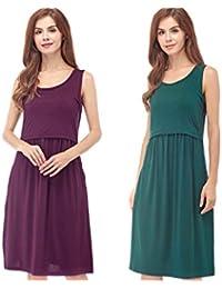 541c978f77540 Women's Sleeveless Maternity Dress Nursing Breastfeeding Dresses with  Pockets