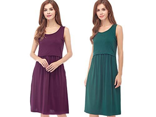 Bearsland Womens Sleeveless Maternity Dress Empire Waist Nursing Breastfeeding Dress Summer,greenpurplered,XL ()