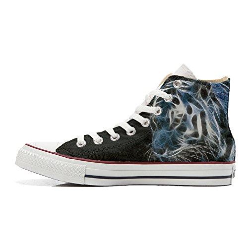 nuanc� Unisex Coutume Blanc Artisanal Converse avec Tigre Customized Noir Chaussures Produit zqwf5xSZf