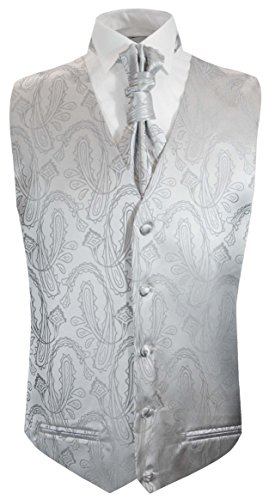 Paul Malone Silver Paisley Tuxedo Vest and Cravat