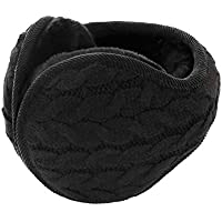 Unisex Knit Wool Foldable Earmuffs, Women's Men's Thick Fleece Lined Winter Thermal Ear Warmers Adjustable Wrap Outdoor Sports Plush Warm Ear Covers Earmuff Running Cycling Ski Snow Ear Muffs Headband
