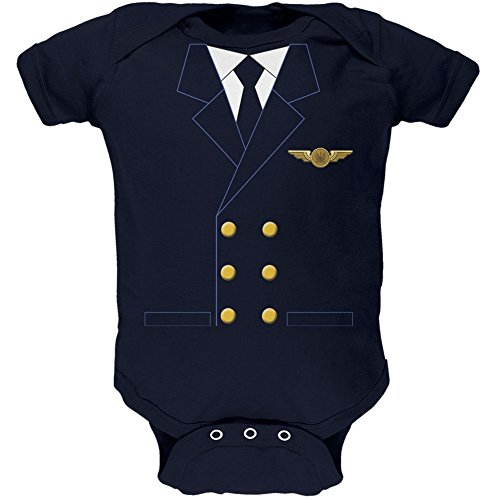 Halloween Airline Airplane Pilot Navy Soft Baby One Piece - 12-18 -