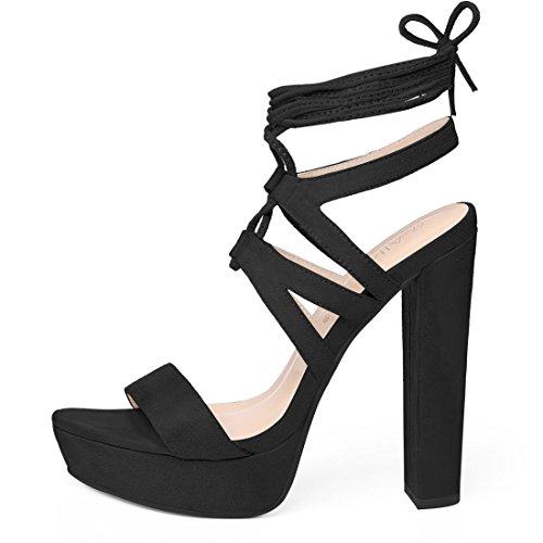 Up Sandals K Allegra Black Strappy Platform Lace Women pnfnwgISq