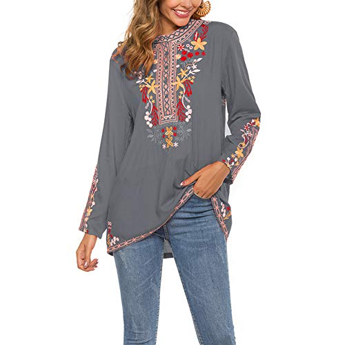 AK Women's Mexican Boho Embroidered Tops Long Sleeve Peasant Casual Loose Tunics Fall Blouse Shirts for Women