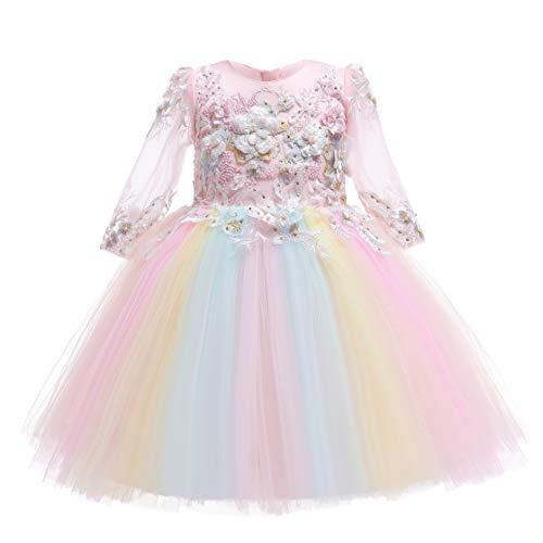 Weileenice 2-14T Flower Girls Dress Bridesmaid Rainbow Tulle Lace Sleeve 3D Embroidery Beading Princess Party Dresses (5-6 Years, Pink + -