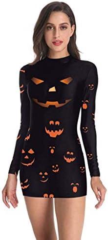 Voicry Frauen-Punk-Halloween-Skelett-Blutfleck-Druck-kalte Schulter-langes Hülsen-Kleid