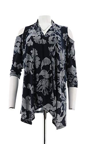 Susan Graver Printed Cold Shoulder Cardigan Navy S New A293639