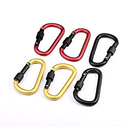 Andux 6pcs D-type Aluminum Small Color Multifunction Carabiner Locking Outdoor Equipment Quickdraws Hook Keychain Hanging Buckle DGNGG-01