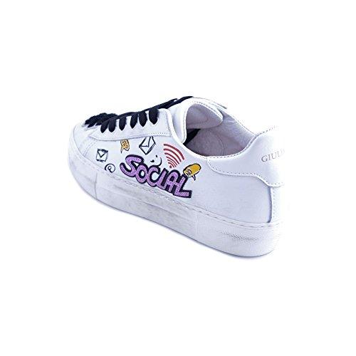 Taglia Pelle con Scarpe Social Sneakers Applicazioni Donna Giulia in Nati 38 Patch Bianca O6aPxq