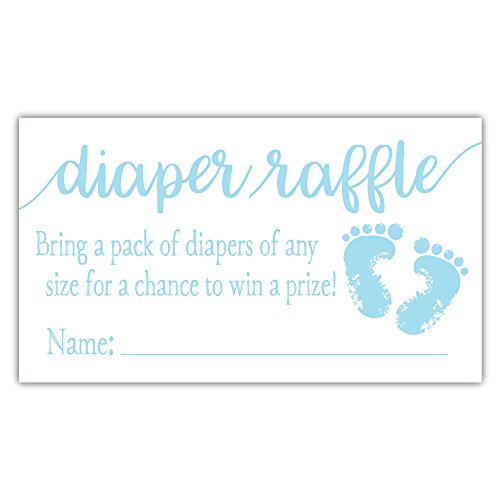 50 Blue Baby Feet Diaper Raffle Tickets - Boy Baby Shower Game by m&h invites (Image #2)