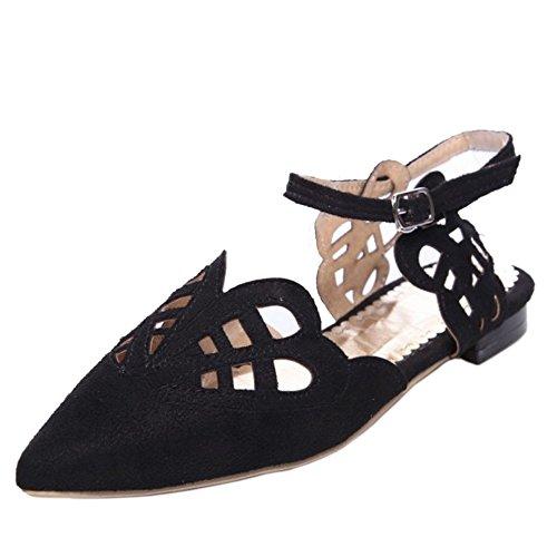 TAOFFEN Mujer Puntiagudo Verano Sandalias Plano Al Tobillo Cut-out Zapatos Negro