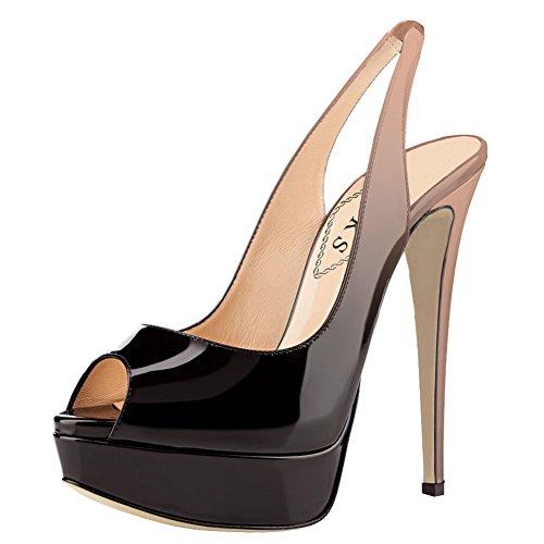 Talons Eks De Chaussures Hauts Nude Gradient Plateforme Mariage F¨ºte Peep Slingbacks Pompes noir Toe TrwHrt