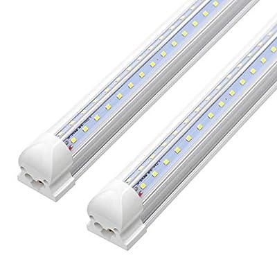 8FT LED Shop Light Fixture - 72W 7200LM, 6000K Cool White, Dual Row V Shape, T8 Integrated Tube Strip Cooler Lights, Clear Cover, Linkable, High Output Bulbs for Garage, Workshop, AC100-305V (12Pack)