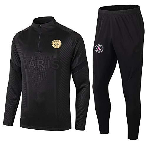 zhaojiexiaodian Paris Black Camiseta de Manga Larga Ropa de fútbol Primavera y otoño Apariencia Adultos Sudaderas Trajes…