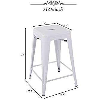 Merax 24 Metal Counter Barstools with Square Seat for Indoor Outdoor Set of 2 White