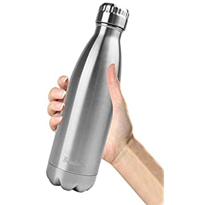 Bruntmor, 17 oz Double Wall Vacuum Insulated 18/10 Stainless Steel Water Bottle Cola Thermos Bottle Keeps cold up to 24 hours, hot up to 12 hours (17oz. 2 Pack)