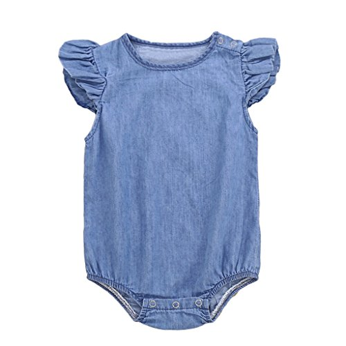 Flutter Cuff (MIOIM Infant Toddler Baby Girls Denim Ruffled Flutter Sleeves Snap Rompers)