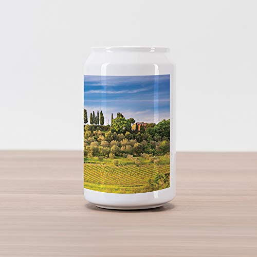 Lunarable Tuscan Cola Can Shape Piggy Bank, Green Field Tranquil Landscape Retro Stone Toscana Farmhouse Vineyard, Ceramic Cola Shaped Coin Box Money Bank for Cash Saving, Khaki Green and ()