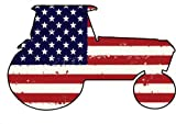 Tractor Vinyl Magnet - Tractor Silhouette with AMERICAN Flag Car Magnet -Patriotic Refrigerator Magnet - Perfect Farmer Cowboy Country or Farm Lover Gift - Made in the USA