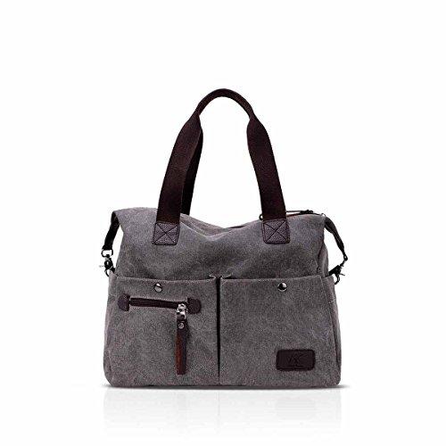 Cmtpyy bolsos de mujer de la vendimia bolso de hombro de la escuela casual Crossbody bolsa de gran capacidad Rojo Gris