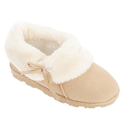 Fur Ladies Womens Slippers Lined SlumberzzZ Faux Beige CBaqR4wvy
