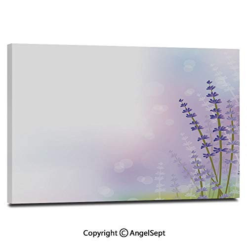 Canvas Prints Modern Art Framed Wall Mural Nature Inspired Abstract Backdrop with Gentle Pastel Lavender Stems Decorative Wall Decorations for Living Room Bedroom Dining Room Bathroom Office,Violet