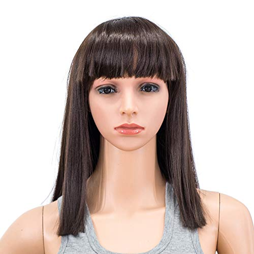 SWACC 14 Inches Short Straight Medium Shoulder Length Wig with Blunt Cut Bangs and Bottom End Synthetic Heat Resistant Hair Wigs for Women with Wig Cap (Dark Brown-4#)