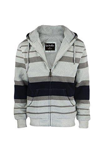 Men's Stripe Zip Up Heavy Blend Sherpa-Lined Fleece Hoodie Sweatshirt (Large, Light Gray)