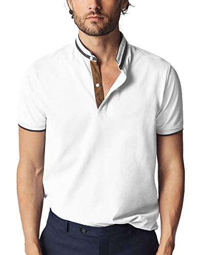 Navifalcon Polo Shirts for Men 100% Cotton Mens Basic Pique Collared T Shirts Casual Slim Fit White M